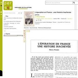 L'épuration en France : une histoire inachevée