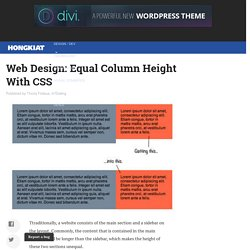 Equal Column Height With CSS