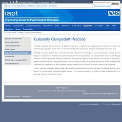 Equalities > Culturally Competent Practice