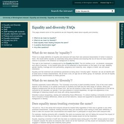 Equality and diversity FAQs