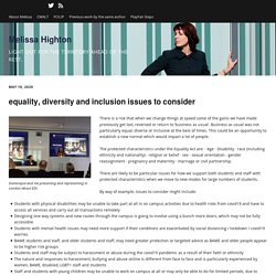 equality, diversity and inclusion issues to consider – Melissa Highton