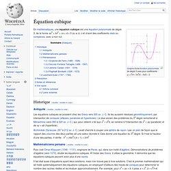 Équation cubique