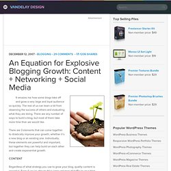 An Equation for Explosive Blogging Growth: Content Networking Social Media