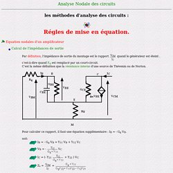 Régles de mise en équation - Equation nodales d'un transistor - calcul de l'impédance de sortie