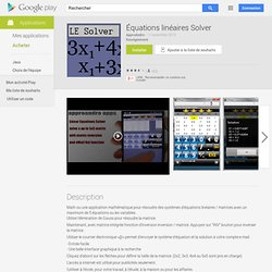 Équations linéaires Solver