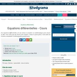 Equations différentielles - Cours