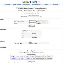 Weight Loss Equations Formulas Calculator - Lean Body Mass