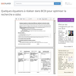 Quelques équations à réaliser dans BCDI pour optimiser la recherche e-sidoc - PDF Free Download