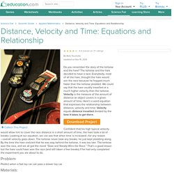 Distance, Velocity and Time: Equations and Relationship