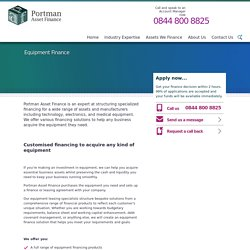 Equipment Finance - Portman Asset Finance