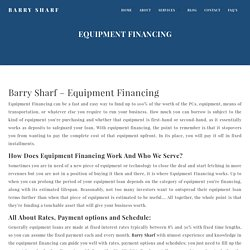 Equipment Financing & Loans in USA for Your Business From Barry Sharf