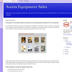 Precaution to Consider when you Buy from Used Equipment Sales Firm in Australia