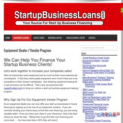 Start up business equipment financing