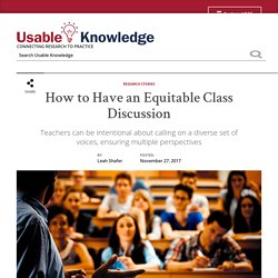 How to Have an Equitable Class Discussion