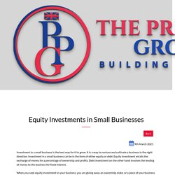 Equity Investments in Small Businesses