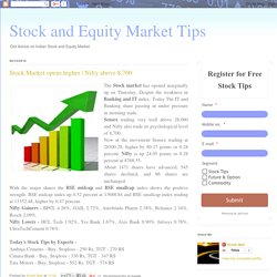 Stock and Equity Market Tips: Stock Market opens higher