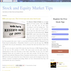 Stock and Equity Market Tips: RBI cuts repo rate, The lowest repo rate since last 6 year NSE BSE