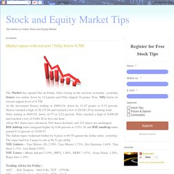 Stock and Equity Market Tips: Market opens with red note