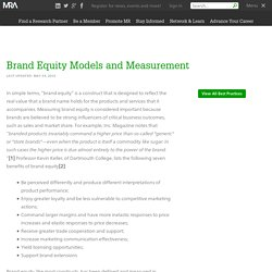 Brand Equity Models and Measurement