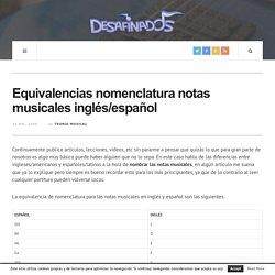 Equivalencias nomenclatura notas musicales inglés/español