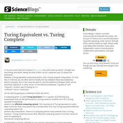 Turing Equivalent vs. Turing Complete
