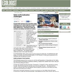 Idaho wolf eradication challenged - News