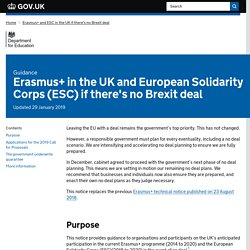 Erasmus+ in the UK and European Solidarity Corps (ESC) if there's no Brexit deal