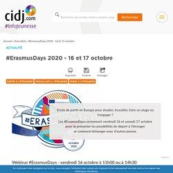 #ErasmusDays 2020 - 16 et 17 octobre