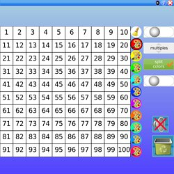 Sieve of Eratosthenes,number square,view multiples and prime numbers