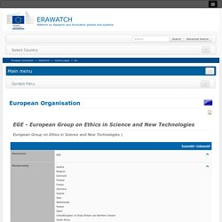 Erawatch EGE - European Group on Ethics in Science and New Technologies