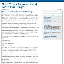 Paul Erdos International Math Challenge - Paul Erdos International Math Challenge