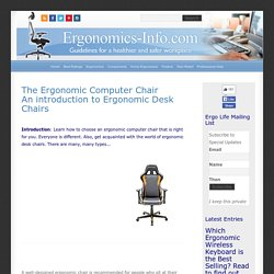 Ergonomic Computer Chair - An Introduction to ergonomic desk chairs
