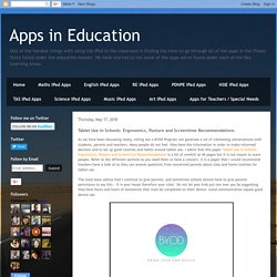 Apps in Education: Tablet Use in Schools: Ergonomics, Posture and Screentime Recommendations