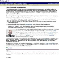 Ergonomie du web: critères ergonomiques de Scapin et Bastien