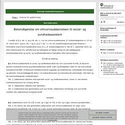Bekendtgørelse om erhvervsuddannelsen til social- og sundhedsassistent