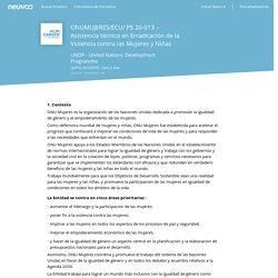 Empleo ONUMUJERES/ECU/ PS 20-013 – Asistencia técnica en Erradicación de la Violencia contra las Mujeres y Niñas - UNDP - United Nations Development Programme