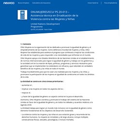 Empleo ONUMUJERES/ECU/ PS 20-013 – Asistencia técnica en Erradicación de la Violencia contra las Mujeres y Niñas - United Nations Development Programme