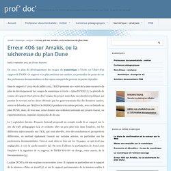 Erreur 406 sur Arrakis, ou la sécheresse du plan Dune - prof' doc'