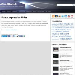 Erreur expression Slider : After-Effects.fr