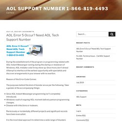 AOL Error 5 Occur? Need AOL Tech Support Number