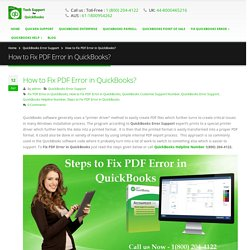 How to Fix PDF Error in QuickBooks? Call 18002044122
