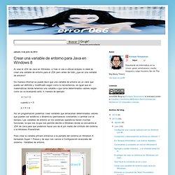 error066: Crear una variable de entorno para Java en Windows 8