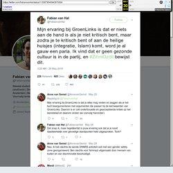"""Fabian van Hal on Twitter: """"Mijn ervaring bij GroenLinks is dat er niets aan de hand is als je niet kritisch bent, maar zodra je te kritisch bent of aan de heilige huisjes (integratie, Islam) komt, word je al gauw een paria. Ik vind dat er geen gezonde cu"""