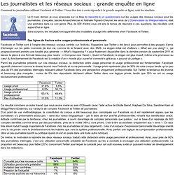 - Les journalistes et les réseaux sociaux : grande enquête en ligne