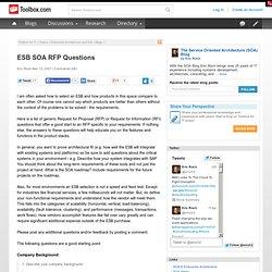 ESB SOA RFP Questions