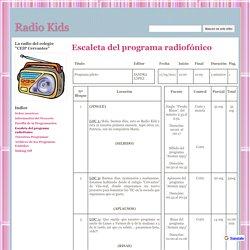 Escaleta del programa radiofónico - Radio Kids