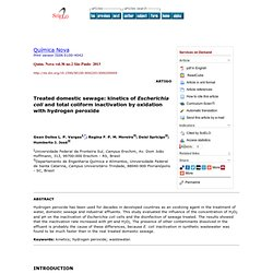 Quím. Nova vol.36 no.2 São Paulo 2013 Treated domestic sewage: kinetics of Escherichia coli and total coliform inactivation by o