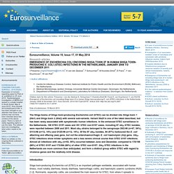 EUROSURVEILLANCE 01/05/14 Au sommaire: Emergence of Escherichia coli encoding Shiga toxin 2f in human Shiga toxin-producing E. coli (STEC) infections in the Netherlands, January 2008 to December 2011