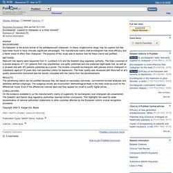 Escitalopram: superior to citalopram or a chiral c... [Psychothe