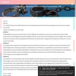 L'esclavage reconnu crime contre l'humanité, 2011 - Francetv Éducation